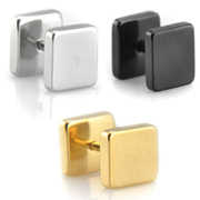 Simple tri-color wing square men''s earrings men titanium steel men Jewelry Accessories for Japanese and Korean boys single black