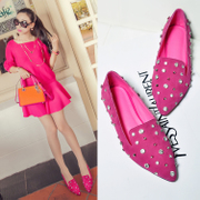 C2014 spring Europe rivet rhinestone pointy flat shoes leisure shoes low discussion women's shoes