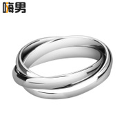 The shopkeeper recommended! Korean fashion three-ring three times to embrace creative titanium steel rings men''s and women''s ring