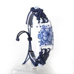 Green ceramic jewelry hand-painted features of Jingdezhen blue and white porcelain hand decorated hand-woven bracelet