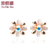 Ya na new Korea ladies Opal Stud Earrings Korean fashion retro cute Flower Earrings
