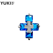 YUKI jewelry white fungus nails men''s single earrings 925 Silver Crystal European fashion the new tide of the cross