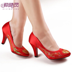 Purple Elf shoes dress shoes long Feng embroidery bridal wedding shoes, Bridal Shoes, red high heel X14961-
