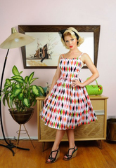 Europe original Hepburn wind slim strap diamond lattice print sleeveless dress big skirt spot