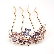H006 hair jewelry plug plug comb made by the Korean version of the new rhinestone elegant flowers four-tooth comb