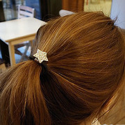 Good jewelry Korea hair jewelry Heart Rhinestone star-rope hair band hair tie leather hair band