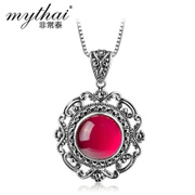 Very Thai 925 silver inlay Switzerland Ruby pendant fashion personality Palace pendant pendants girl Korean version