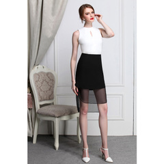 Short skirt sexy see-through chiffon stitching slim hips OL skirts long before short after swallowtail dresses little black dresses 9130