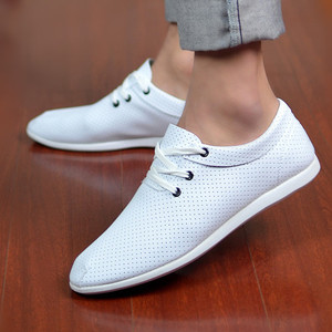 Summer men's casual shoes Korean trend mesh breathable casual leather shoes British fashion white hole men's shoes