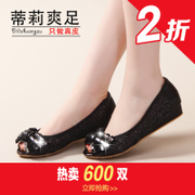 2015 spring new fish mouth shoes women flat-bottom leather flat with light sweet feet shoes