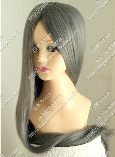 100CM深灰色 中分无刘海 一米加厚长直发 COS假发 可订做其它颜色