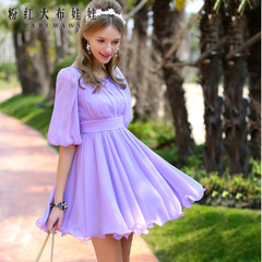 Dress big pink dolls 2015 spring summer women's inlaid stone waist short sleeve chiffon dress