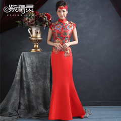 Purple Elf 2014 bride wedding dress wedding dresses modified toast Chinese style fish tail red dress