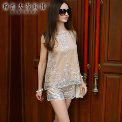 Big Pink doll spring 2015 new nude sequined lace petal edges OL low-rise shorts women