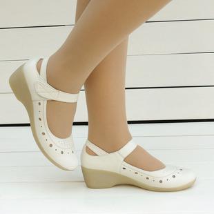 新春夏女款真皮牛皮工作鞋通勤镂空牛筋底白色坡跟休闲舒适护士鞋
