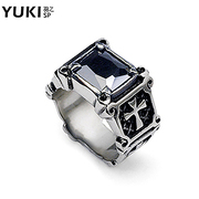 YUKI jewelry man ring titanium steel rings retro black gem domineering new exaggeration people in Europe and America