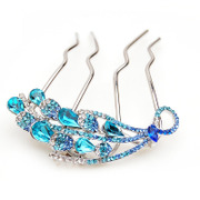 Package mail smiling new plug comb comb hair clip made by the Korean version of the Peacock rhinestone Crystal tiara luxury hair accessories jewelry