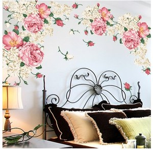 Peony rose wall sticker wall decoration painting warm living room bedroom TV background wall wardrobe glass decal