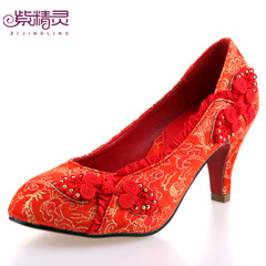 Purple Fairy tapestry satin bridal wedding shoes women|s shoes red buttons X14019-