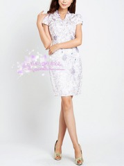 ~2015 Shoppe brand stereo when the flowers of flowering irises lace beaded floral cheongsam dress 903