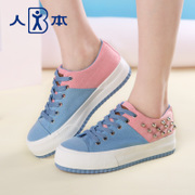 Human spring 2016 candy colour matching canvas women's platform with rivets and leisure shoes women's shoes platform students Chao