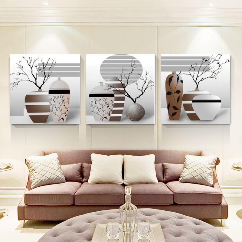 客厅装饰画 现代简约三联壁画沙发背景画家居挂画卧室墙画无框画