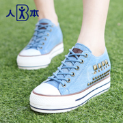 This fall of 2015 rivet adding high and low for new thick-soled platform shoes wash denim sneakers women