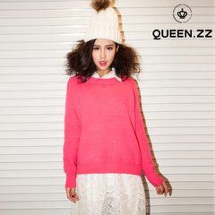QUEENZZ Europe and the socialite wind the spring and Autumn period new leisure sweater crewneck long-sleeved simple Joker girl MY103#