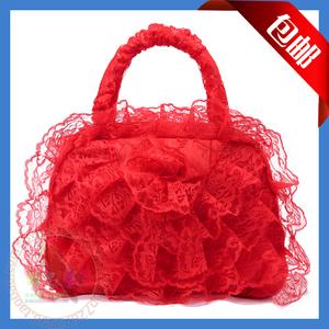 2014 New Bridal Bag Wedding Supplies Wedding Bag Bridesmaid Handbag Big Red Lace Handbag Cosmetic Bag