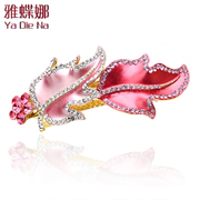 Ya na genuine Maple Leaf Chinese Restaurant rhinestone hair clip hairpin Crystal Korea hair accessories Queen Q0728