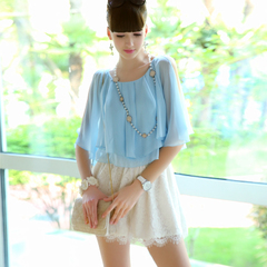 Jumpsuit pink in spring and summer dolls 2015 new blue lace chiffon shawls mosaic piece shorts