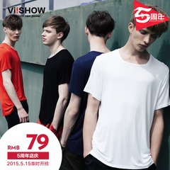 Viishow2015 summer dress new short sleeves t shirt UK size solid color short sleeve t cotton crew neck top