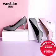 West high heel pointy shoes asakuchi fine autumn new 2015 elegant Silver sequin Korean sexy shoes