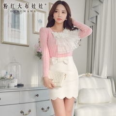 Woolen dress pink doll summer 2015 new short skirt tight dress for hip skirts high waist
