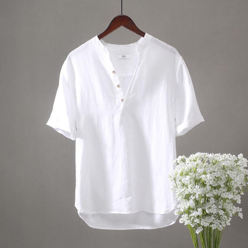 立领套头短袖亚麻衬衫男宽松薄款夏季薄款休闲衬衣复古中国风旅游