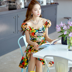 2015 dress big pink retro character doll summer styles dresses color flower put on short sleeves dress