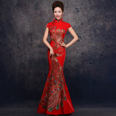Toast clothing bridal fashion 2015 fish tail red dress long slim one-shoulder wedding wedding dress spring