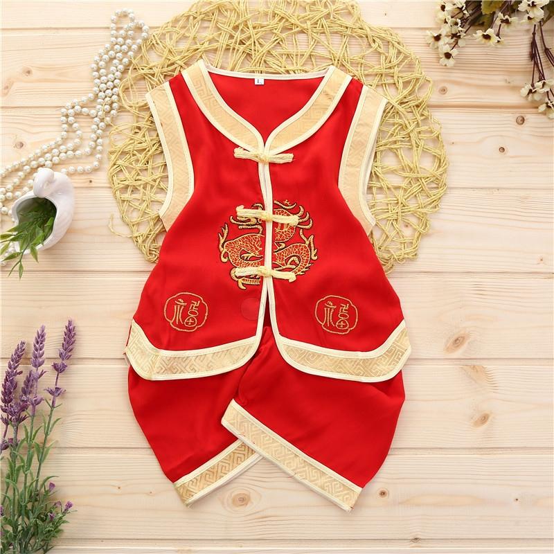 儿童唐装男童小套棉绸刺绣中国风0-3岁宝宝夏款跨栏背心宝宝唐装