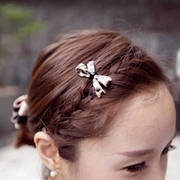 Know NI the Korean version of Leopard-print hair bow clip Barrette headdress frog clip bangs clip hairpin jewelry
