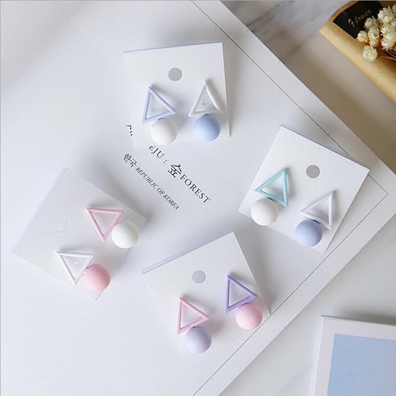 韩国夏季撞色糖果色几何耳钉女气质简约耳饰网红个性不对称耳环潮