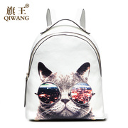 Qi Wang real leather women bag 2015 autumn surge backpack girl Korean leisure Institute wind cat print leather backpack