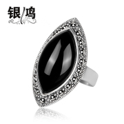 Hong 925 Silver jewelry, silver natural green agate silver ring-Thai-style hand-literally finger ring