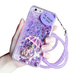 iPhone6手机壳6Splus流沙水钻壳套苹果5S支架指环硅胶外套挂绳女