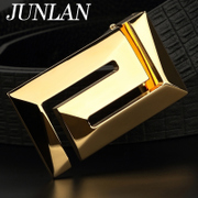 LAN genuine suede leather men's belts, JUNLAN June Korean leather men's belts smooth buckle belt brass buckle