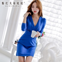 Slim dress pink doll 2015 autumn new style long sleeves Royal Blue v-neck bubble dress