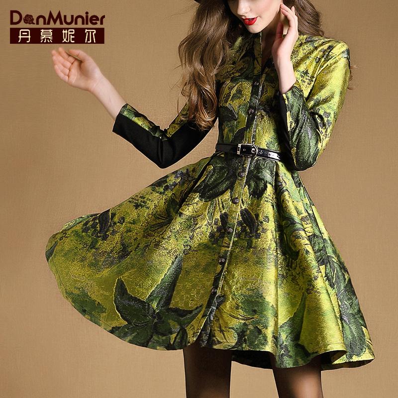 丹慕妮尔2015秋冬新款女装大牌单排扣修身中长款风衣裙式外套3337