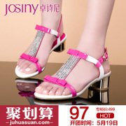 Zhuo Shini summer styles commuter sequins butterfly knot sandals with chunky heels in women's shoes shoes 142235310