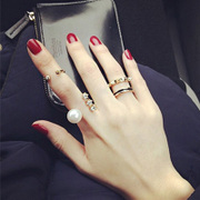 2015 new European and American punk rivet faux Pearl Metallic diamond female jewelry rings ring set of three
