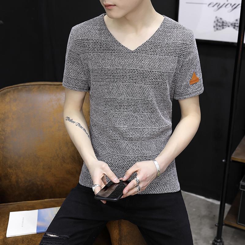 夏季青年百搭短袖男t恤韩版潮流男装休闲v领短袖T恤大码纯色上衣