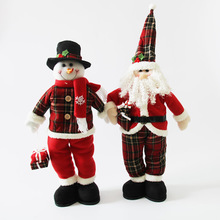 Christmas Decorations Christmas Tree Decorations Christmas Gifts Red Plaid Telescopic Old Man Snowman